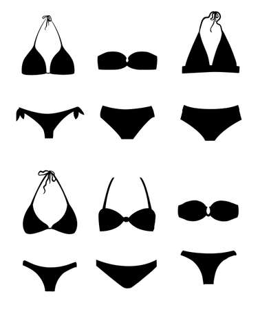 Swimming black suits and bikini icon collection different flat icons set silhouette flat style vector illustration isolated on white background website page and mobile app design.