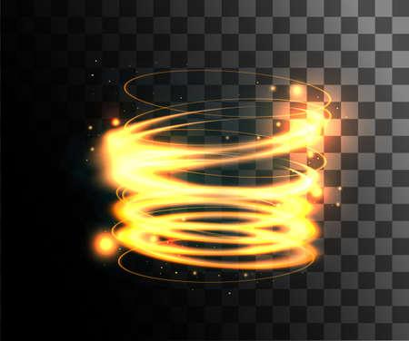 Gouden vectorlichteffecten gloeiende lichtringen met deeltjesdecoratie die op de transparante achtergrondwebpagina en het mobiele appontwerp wordt geïsoleerd. Vector Illustratie