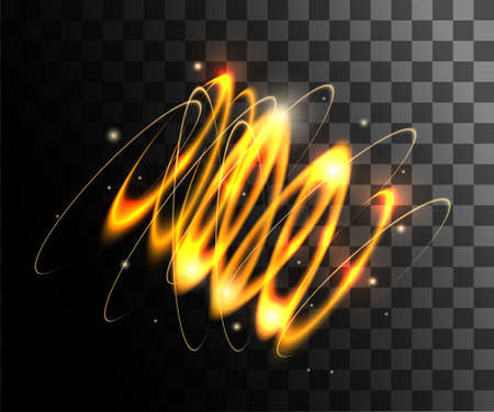 Gold vector light effects glowing light rings with particles decoration isolated on the transparent background website page and mobile app design. Illustration