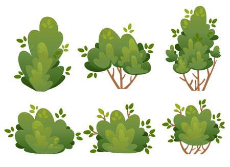Reeks natuurlijke struik en tuinbomen voor parkplattelandshuisje en werf vectordieillustratie op witte achtergrondwebsitepagina en mobiel app ontwerp wordt geïsoleerd.