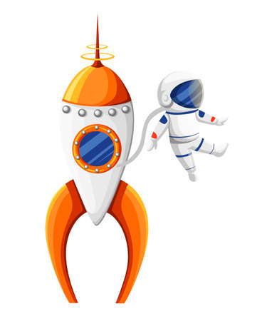 Cartoon astronaut with spacesuit near rocket in zero gravity orange and white spaceship vector illustration isolated on white background website page and mobile app design. Illustration