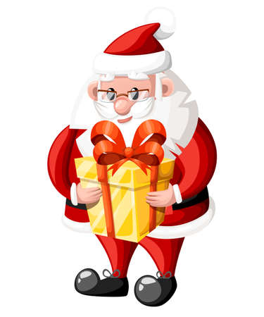 Santa Claus hold golden gift box with red bow vector illustration isolated on white background website page and mobile app design.