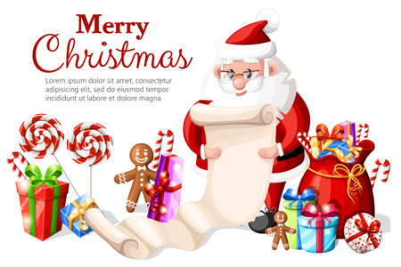 Santa Claus checking list with different gift box a bag with presents lollipops and gingerbread vector illustration with place for your text isolated on white background website page and mobile app.