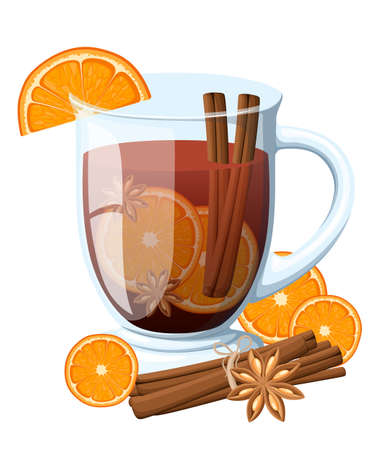 Mulled wine with orange slice and cinnamon stick in a transparent cup vector illustration isolated on white background