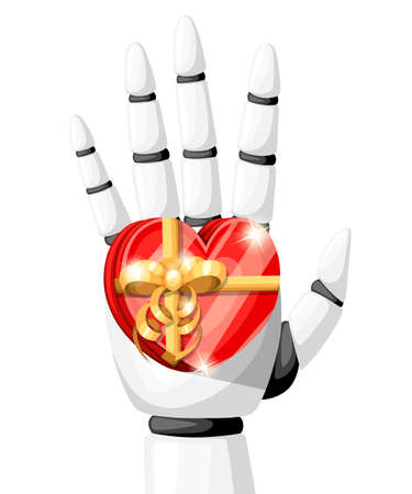 White robot hand or robotic arm for prosthetics holds a gift in the form of a heart with a gold bow vector illustration isolated on white background website page and mobile app design.