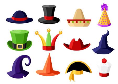 Collection festive de carnaval amusant d'illustration de vecteur de chapeau de déguisement de célébration isolé sur la page de site de fond blanc et la conception de l'application mobile. Banque d'images - 94218889