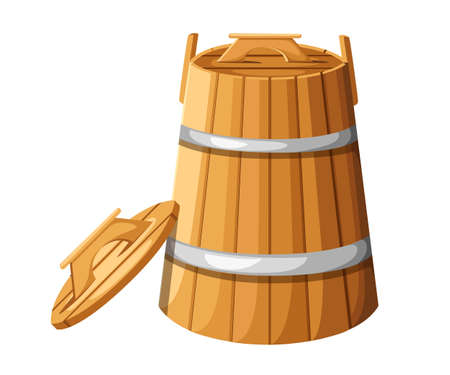 Wooden barrel with handles and lid for herbs vector illustration isolated on white background.