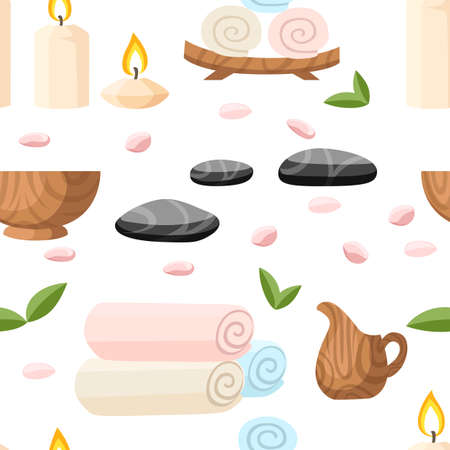 Colorfull spa tools and accessories black basalt massage stones herbs rolled up towel candles and oil vector illustration on white background with place for your text.
