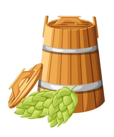 Wooden barrel with handles and lid for hebs and hops vector illustration isolated on white background website page and mobile app design.