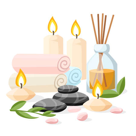 Colorful spa tools and accessories black basalt massage stones herbs rolled up towel candles and oil vector illustration on white and blue background with place for your text. Illustration