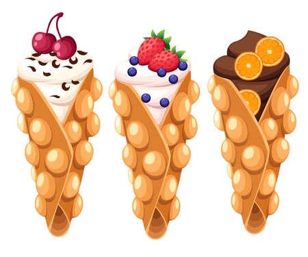 Zestaw gofrów z Hongkongu z wiśniowo-truskawkową pomarańczą i bitą lub czekoladową śmietaną ilustracji wektorowych na białym tle na białym tle strony internetowej i projektowania aplikacji mobilnej.