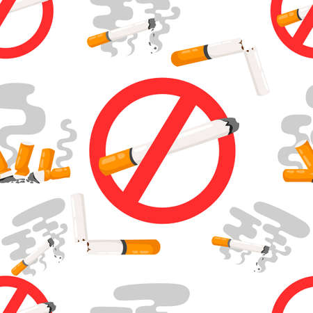 Seamless pattern of no smoking forbidden signs with flat cigarette with smoke vector illustration.