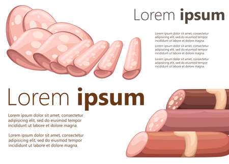 Set of different varieties of sausage and slices vector illustration on white background with place for your text website page and mobile app design.