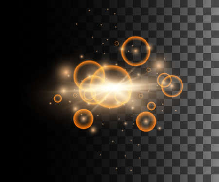 Set of golden vector light effects glowing light rings with particles decoration isolated on the transparent background website page and mobile app design. Stock Illustratie