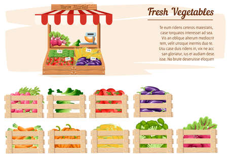Front view market wood stand with farm food and vegetables in open box vector with weights and price tags with place for your text illustration on white background website page and mobile app design. Stock Illustratie