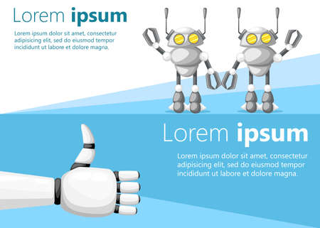 Thumbs up white robot hand or robotic arm for prosthetics and two friendly robots vector illustration on white and blue background with place for your text website page and mobile app design.