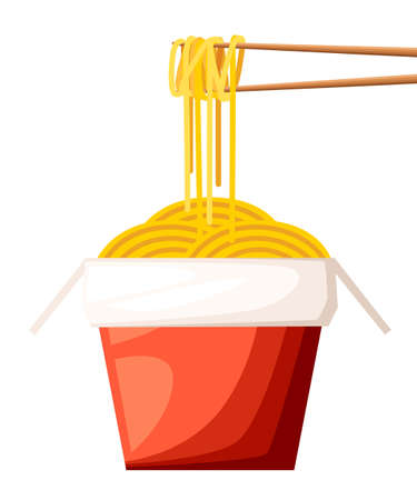 Chinese restaurant take-out red food box with noodles and sticks vector illustration isolated on white background web site page and mobile app design.