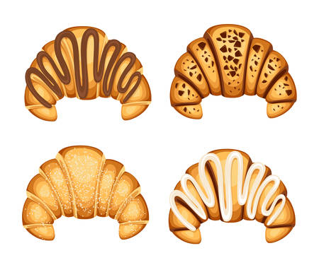 Set of croissant with different fillings cream chocolate and sesame on top vector illustration isolated on white background.