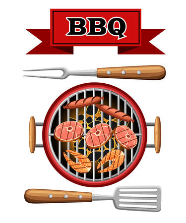Barbecue design elements grill top view burning coals bbq picnic cooking device with meat fish and sausages vector illustration isolated on white background web site page and mobile app design.
