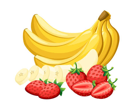 Set of fresh strawberry and bananas cut by pieces. Vector illustration isolated on white background. Vettoriali