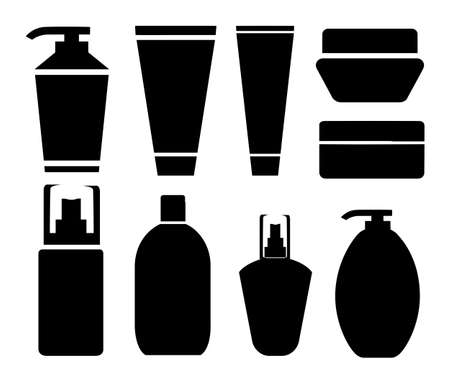 Set silhouettes of cans cream, shampoo, balm mask and cosmetics for face care and body. Black glossy cosmetics bottle vector illustration isolated on white background web site page and mobile app desi