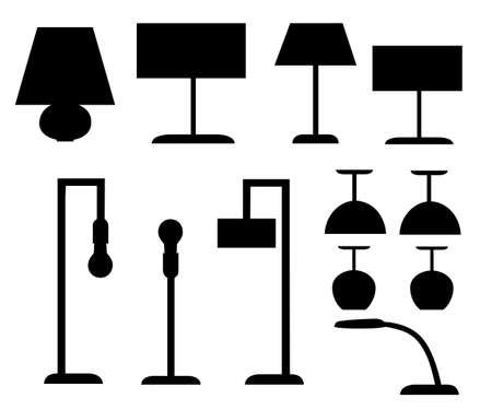Set of black silhouettes different types of lamp, floor and table lamps vector illustration isolated on white background. Web site page and mobile app design.