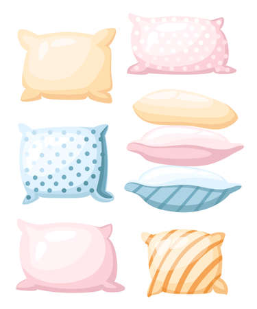 Sleep and rest symbol accessories for night rest pillows of pastel colors with a print striped and dotted in different angles icon in cartoon style isolated on white background.