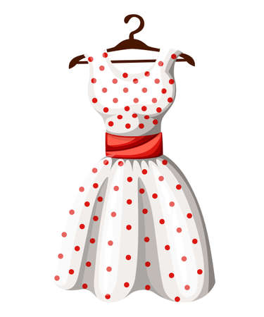 Polka dot dress white dress in red dotted with red belt hanging on wooden hanger vector illustration isolated on white background web site page and mobile app design.
