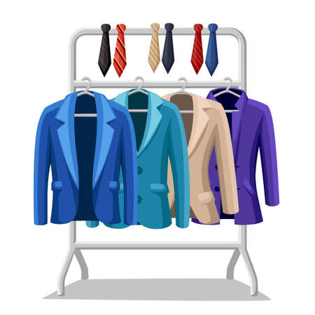 Business suit mens jacket four jackets of different colors and types blue green violet beige ties of different colors on a hanger vector illustration on white background.