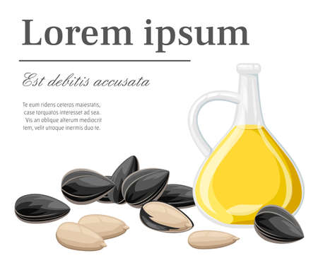 Sunflower seeds in a shell and without ready to eat snack sunflower oil in glass pitcher vector illustration with place for your text isolated on white background web site page and mobile app design. Vectores
