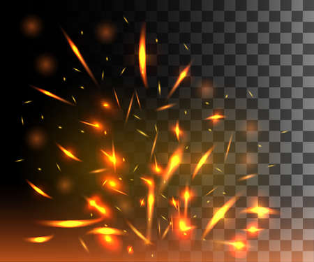 Flame of fire with sparks flying up glowing particles on dark transparent background.