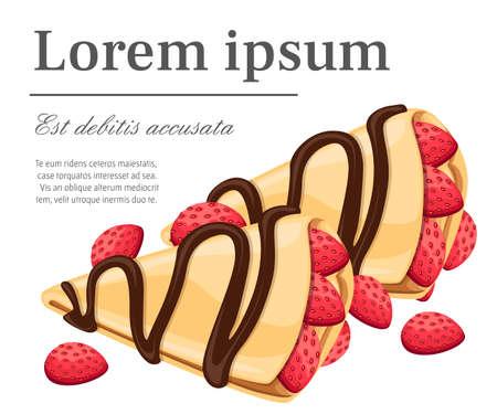 Naleśnik z truskawkowo-czekoladowymi pysznymi naleśnikami. Ilustracja wektorowa na białym tle. Ilustracje wektorowe
