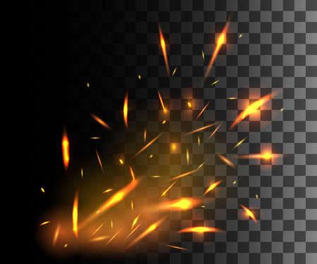 어두운 투명 배경에 빛나는 입자를 날아 불꽃으로 불의 불꽃.