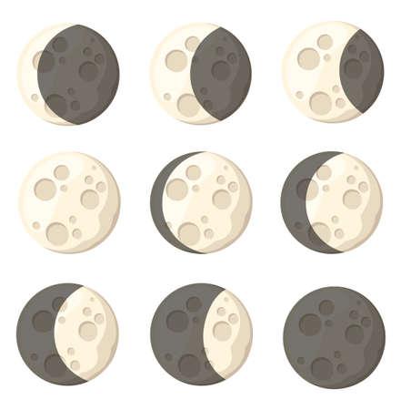 Conjunto de diferentes fases lunares objeto espacial satélite natural de la tierra ilustración vectorial aislado en la página del sitio web de fondo blanco y diseño de aplicaciones móviles. Ilustración de vector