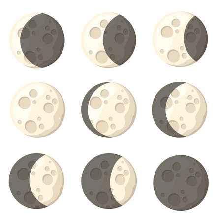 Set of different moon phases space object natural satellite of the earth vector illustration isolated on white background web site page and mobile app design. Vettoriali