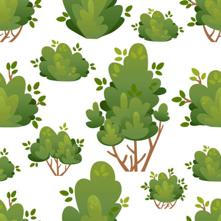 Seamless pattern of natural bushes and garden trees for park cottage and yard vector illustration with place for your text isolated on white background website page and mobile app design. Иллюстрация