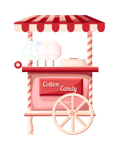 Pink cotton candy cart kiosk on wheels portable store idea for festival vector illustration isolated on white background web site page and mobile app design.