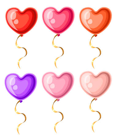 Collection of heart shaped balloons with golden ribbons different colors balloon vector illustration isolated on white background web site page and mobile app design. Illustration