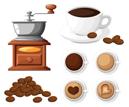 Classic coffee grinder with a bunch of coffee beans manual coffee mill and a cup of coffee cup vector illustration. Illustration