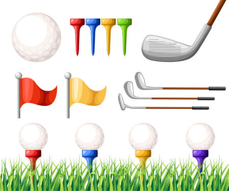 Golf balls on different color tee and various golf clubs and flags on green grass golf course