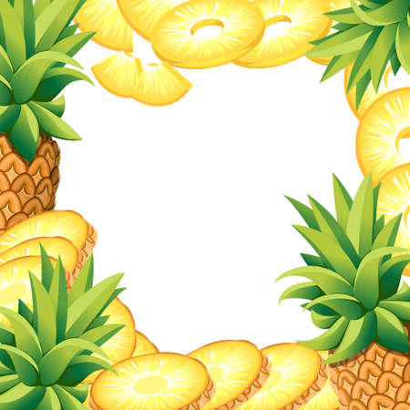 Pineapple of banana and slices of pineapples. Vector illustration with empty space for decorative poster, emblem natural product, farmers market. Website page and mobile app design