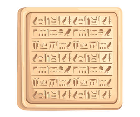 Egyptian hieroglyphics on stone plate ancient script. Vector illustration on white background. Web site page and mobile app design. Banque d'images - 96448881