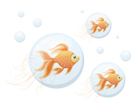 Orange Goldfish in bubbles of air vector illustration on white background web site page and mobile app design.