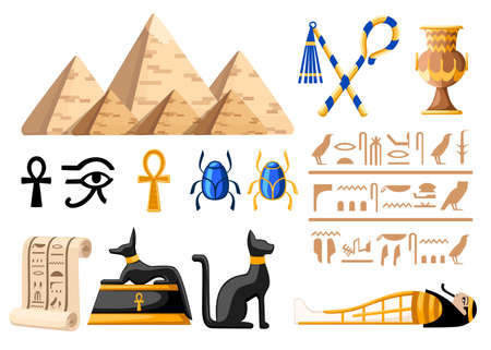 Ancient Egyptian symbols and decoration Egypt flat icons vector illustration on white background web site page and mobile app design