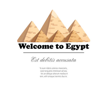 Giza pyramid complex egyptian pyramids daytime wonder of the world great pyramid of giza vector illustration on white background with place for your text