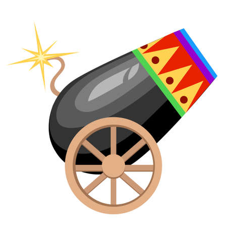 Circus design black cannon on wheels with burning wick and colored ornament vector illustration on white background web site page and mobile app design