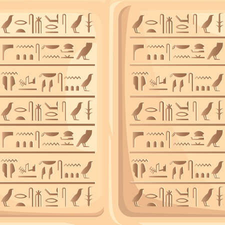 Seamless pattern of Egyptian hieroglyphics on stone plate ancient script. Vector illustration on white background. Web site page and mobile app design. 일러스트