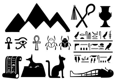 Black silhouettes ancient Egyptian symbols and decoration Egypt flat icons. Vector illustration, isolated on white background. Web site page and mobile app design.  イラスト・ベクター素材