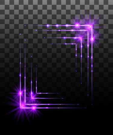 Glowing collection. Purple border frame effect, light effects isolated on transparent background. Sunlight lens flare, stars. Shining elements. Vector illustration