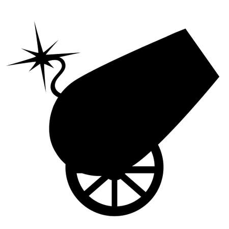 Black silhouette circus design cannon on wheels with burning wick vector illustration on white background web site page and mobile app design Illustration
